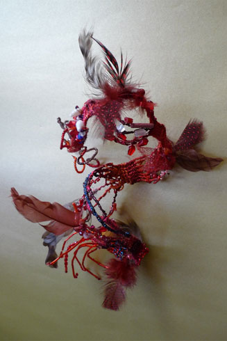 Collier rouge - sculpture (forme 3)