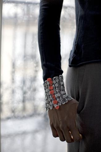 Bracelet argenté - ennoblissement de bas de manche