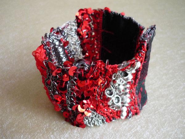bracelet rouge argent